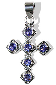 Design 12591: blue iolite cross pendants