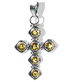 Design 12593: yellow citrine cross pendants