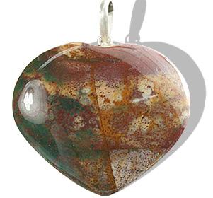 Design 12746: green,pink,red jasper heart pendants