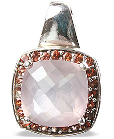Design 12956: pink,red rose quartz estate pendants