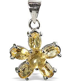 Design 12982: yellow citrine flower pendants
