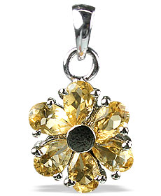 Design 12989: yellow citrine flower pendants
