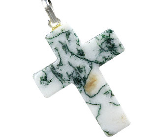 Design 13157: green,white agate christian pendants