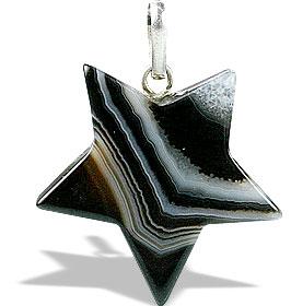 Design 13175: black,brown,white onyx star pendants