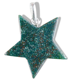 Design 13181: green,red bloodstone star pendants