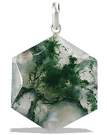 Design 13195: green,white moss agate pendants