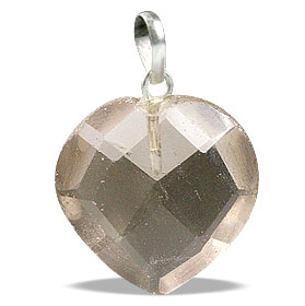 Design 13438: brown,gray smoky quartz heart pendants