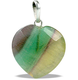 Design 13443: multi-color fluorite heart pendants
