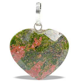 Design 13446: green,orange unakite heart pendants