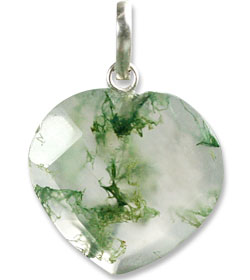 Design 13454: green,white moss agate heart pendants
