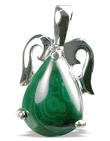 Design 13486: green malachite drop pendants