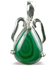 Design 13487: green malachite drop pendants