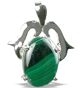 Design 13488: green malachite pendants