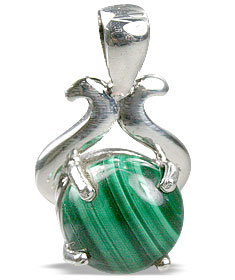 Design 13490: green malachite pendants