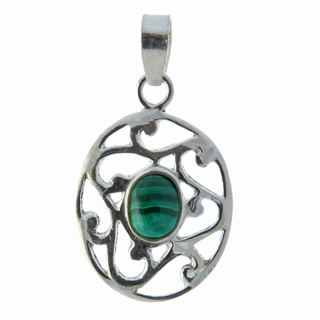 Design 13520: green malachite pendants