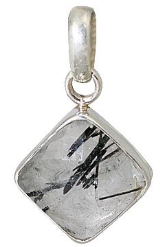 Design 13540: gray rutilated quartz pendants
