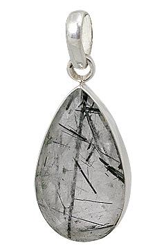 Design 13542: gray rutilated quartz drop pendants