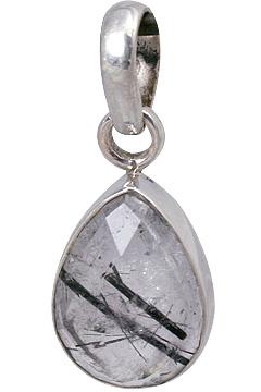 Design 13545: gray rutilated quartz drop pendants