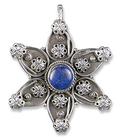 Design 13672: blue lapis lazuli ethnic, flower pendants