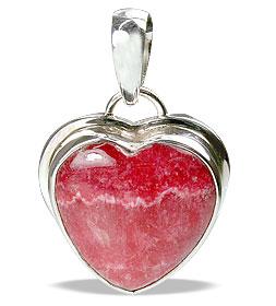 Design 13687: pink,red rhodocrosite heart pendants
