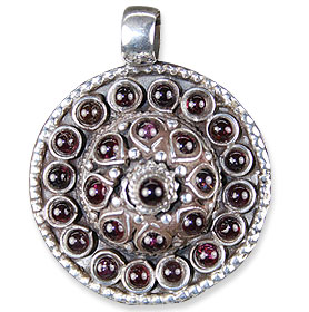 Design 13718: red garnet ethnic pendants