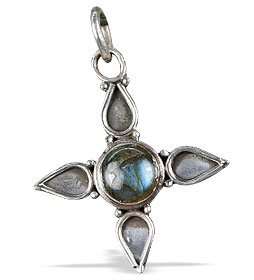 Design 13722: blue,green,gray labradorite cross pendants