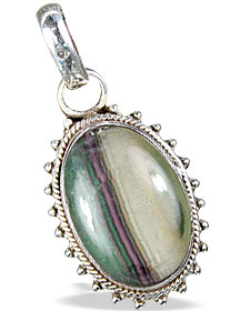 Design 13776: brown,green,purple fluorite american-southwest pendants
