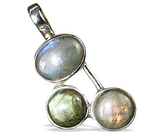 Design 13779: blue,brown,green labradorite art-deco pendants