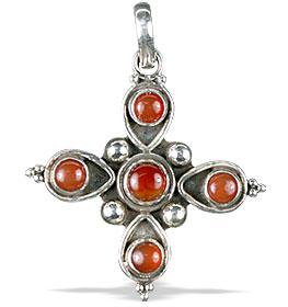 Design 13798: red onyx cross pendants