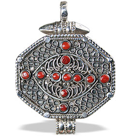 Design 13826: orange carnelian ethnic pendants