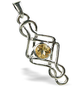 Design 14686: yellow citrine contemporary pendants