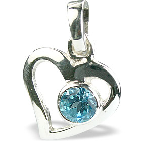 Design 14737: blue blue topaz heart pendants