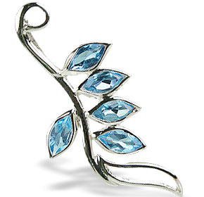 Design 14770: blue blue topaz leaf pendants