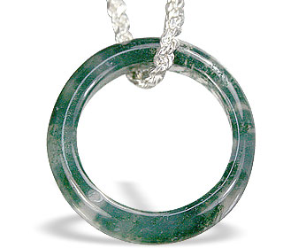 Design 14805: green,white moss agate pendants