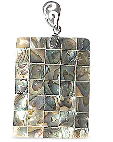 Design 14977: multi-color mother-of-pearl pendants