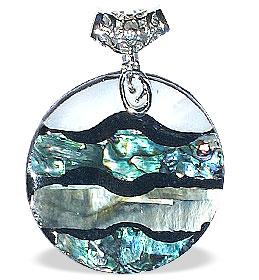 Design 14981: white,multi-color mother-of-pearl pendants