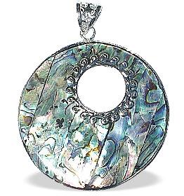 Design 15117: white,multi-color mother-of-pearl pendants