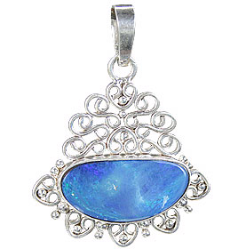 Design 15145: blue,multi-color opal pendants