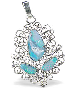 Design 15159: blue,multi-color opal pendants