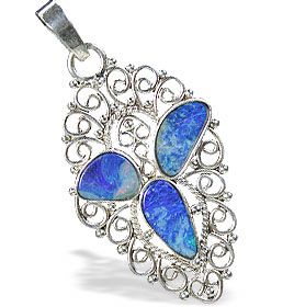 Design 15160: blue,multi-color opal pendants