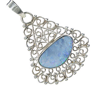 Design 15161: blue,multi-color opal pendants