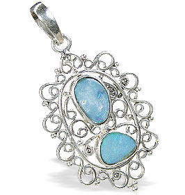 Design 15162: blue,multi-color opal pendants