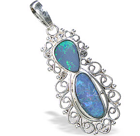 Design 15164: blue,multi-color opal pendants