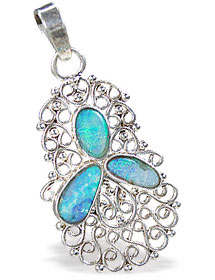 Design 15165: blue,multi-color opal pendants