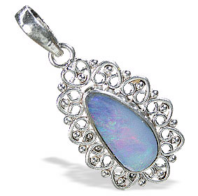 Design 15166: blue,multi-color opal pendants