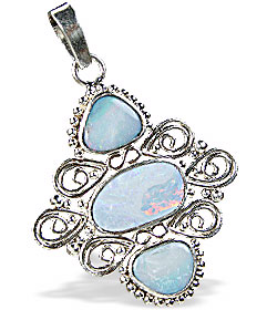 Design 15168: blue,multi-color opal pendants