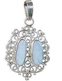 Design 15169: blue,multi-color opal pendants