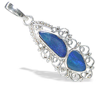 Design 15171: blue,multi-color opal pendants