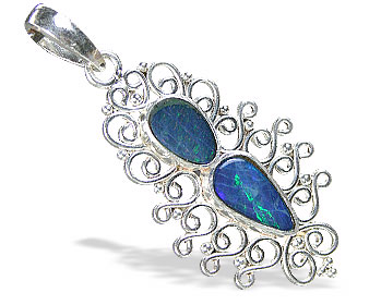 Design 15173: blue,multi-color opal pendants