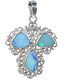 Design 15174: blue,multi-color opal pendants